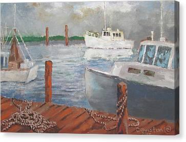 Canvas Print featuring the painting Boats Of Tarpon Springs II by Tony Caviston