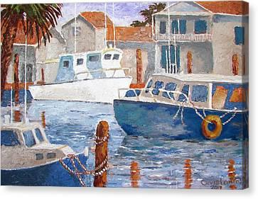 Canvas Print featuring the painting Boats Of Tarpon Springs IIi by Tony Caviston