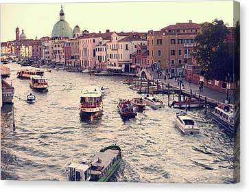 Canvas Print featuring the photograph Boats Of Venice by Brad Scott