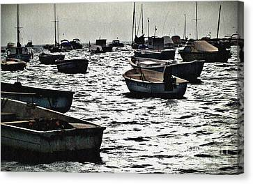 Boats On Mar Menor Canvas Print by Sarah Loft
