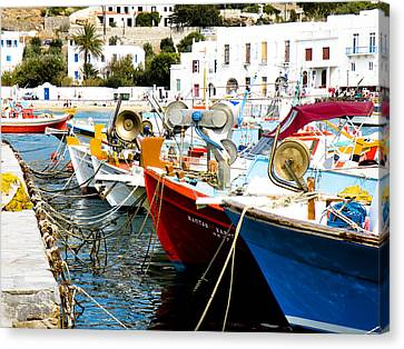 Boats On Parthos Canvas Print