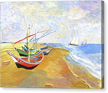 Canvas Print featuring the painting Boats On The Beach At Saintes-maries After Van Gogh by Rodney Campbell