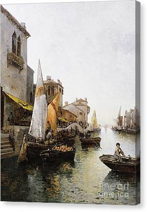 Boats On The Canal Canvas Print