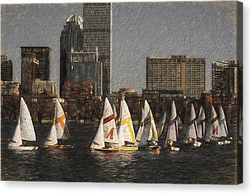 Boats On The Charles River Boston Ma Canvas Print by Toby McGuire