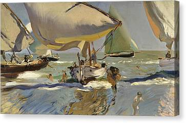 Boats On The Shore Canvas Print by Joaquin Sorolla