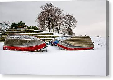 Boats Waiting On Spring Canvas Print