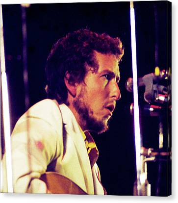 Canvas Print featuring the photograph Bob Dylan 1969 Isle Of Wight No3 -square Variation by Chris Walter