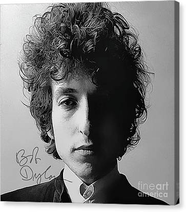 Bob Dylan Art With Autograph Canvas Print by Kjc