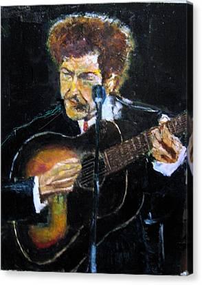 Bob Dylan Plays Guitar Canvas Print by Udi Peled
