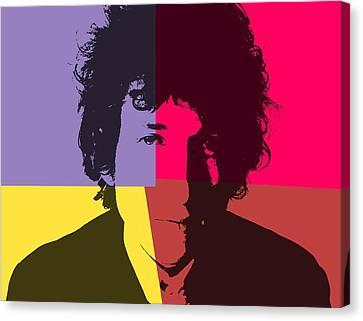 Bob Dylan Pop Art Panels Canvas Print by Dan Sproul