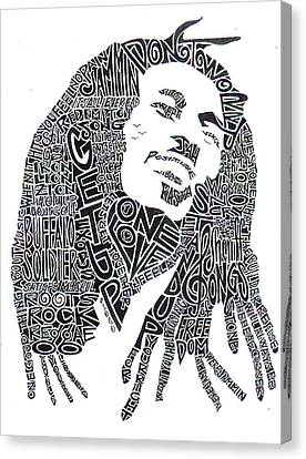Bob Marley Black And White Word Portrait Canvas Print by Kato Smock