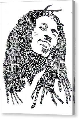 Music Portraits Canvas Print - Bob Marley Black And White Word Portrait by Kato Smock