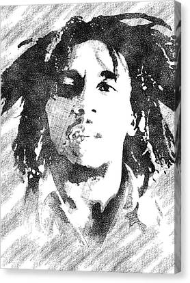 Bob Marley Bw Portrait Canvas Print by Mihaela Pater