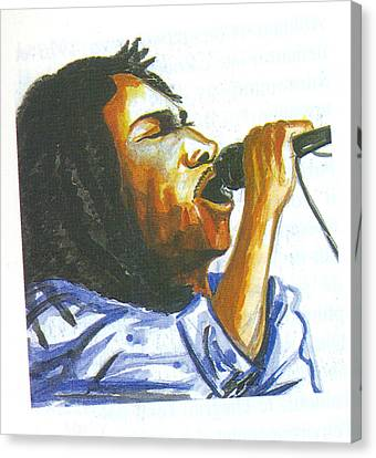Canvas Print featuring the painting Bob Marley by Emmanuel Baliyanga