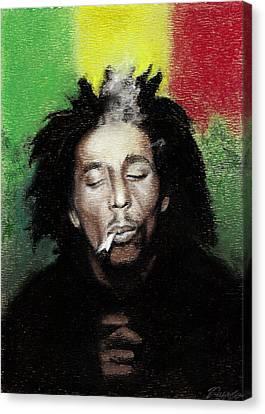 Bob Marley- Smoke Break Canvas Print by Raymond L Warfield jr