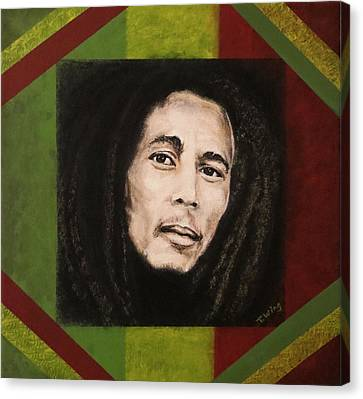 Canvas Print featuring the painting Bob Marley by Teresa Wing
