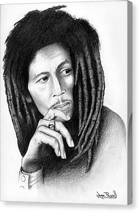 Canvas Print featuring the drawing Bob Marley by Wayne Pascall