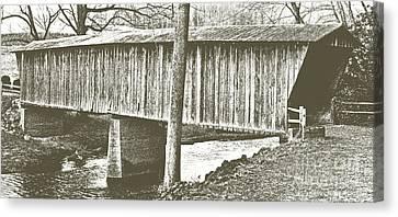 Split Rail Fence Canvas Print - Bob White Covered Bridge by Eric Liller