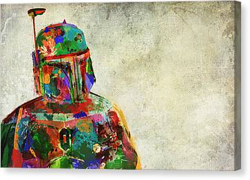 Slaves Canvas Print - Boba Fett In Colour by Mitch Boyce