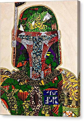 Canvas Print featuring the tapestry - textile Boba Fett Star Wars Afrofuturist Collection by Apanaki Temitayo M