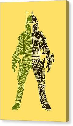 Boba Fett - Star Wars Art, Green 03 Canvas Print