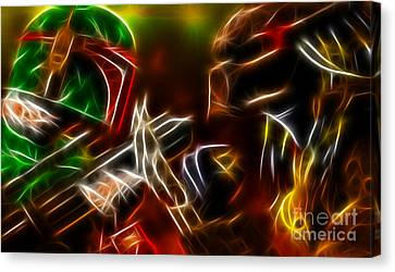 Comic. Marvel Canvas Print - Boba Fett Vs Predator by Pamela Johnson