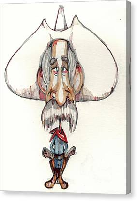 Caricature Cowboy Canvas Print - Bobblehead No 13 by Edward Ruth