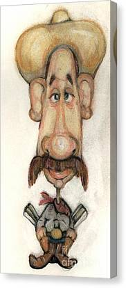 Caricature Cowboy Canvas Print - Bobblehead No 16 by Edward Ruth