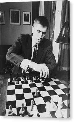 Bobby Fischer 1943-2008 Competing At An Canvas Print