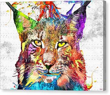 Bobcat Grunge Canvas Print by Daniel Janda