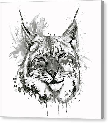 Bobcat Head Black And White Canvas Print by Marian Voicu