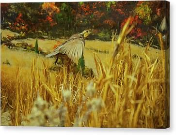 Canvas Print featuring the digital art Bobwhite In Flight by Chris Flees
