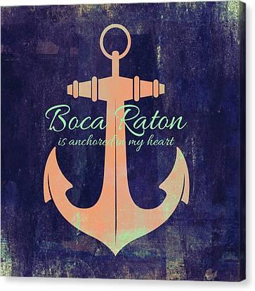Boca Raton Anchor Canvas Print by Brandi Fitzgerald