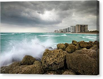 Boca Raton Florida Stormy Weather - Beach Waves Canvas Print by Dave Allen