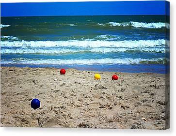 Bocce On The Beach Canvas Print