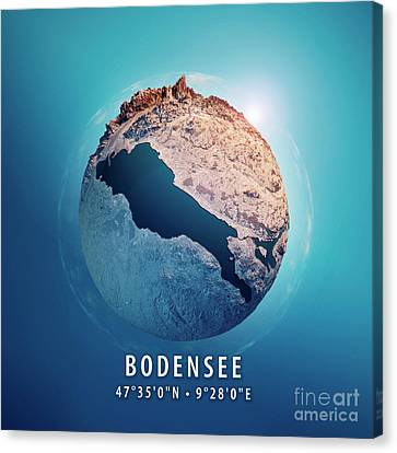 World Map Canvas Print - Bodensee 3d Little Planet 360-degree Sphere Panorama by Frank Ramspott