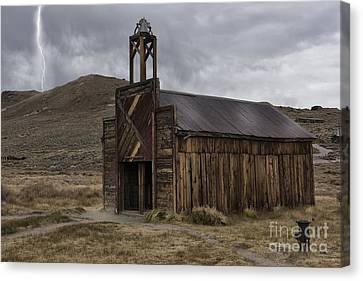 Canvas Print featuring the photograph Bodie Fire Station With Lightning by Sandra Bronstein