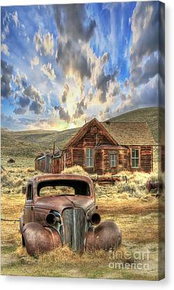 Rusted Cars Canvas Print - Bodie Ghost Town by Benanne Stiens