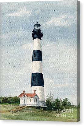 Canvas Print featuring the painting Bodie Island Lighthouse by Nancy Patterson