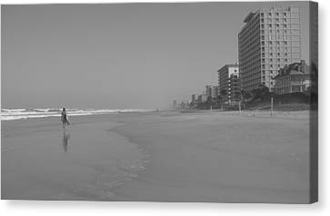 Cost Line Canvas Print - Body Boarding In Black And White by Mandy Shupp