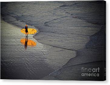 Bodyboarder By Water's Edge At Dusk Canvas Print by Lance Bellers