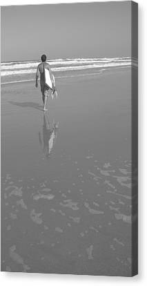 Bodyboarding In Black And White 2 Canvas Print by Mandy Shupp