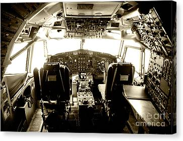 Canvas Print featuring the photograph Boeing 747 Cockpit 21 by Micah May