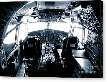 Canvas Print featuring the photograph Boeing 747 Cockpit 22 by Micah May