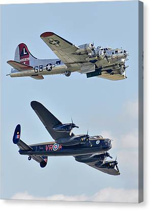 Boeing B-17g Flying Fortress And Avro Lancaster Canvas Print