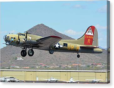 Canvas Print featuring the photograph Boeing B-17g Flying Fortress N93012 Nine-o-nine Deer Valley Arizona April 13 2016 by Brian Lockett