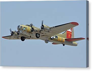 Canvas Print featuring the photograph Boeing B-17g Flying Fortress N93012 Nine-o-nine Phoenix-mesa Gateway Airport Arizona April 15, 2016 by Brian Lockett