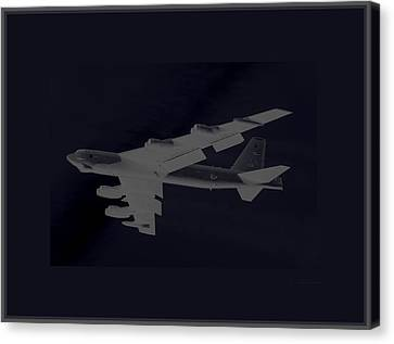 Boeing B-52 Stratofortress Taking Off On A Dangerous Night Mission Tinker Afb 3 Borders Canvas Print by L Brown