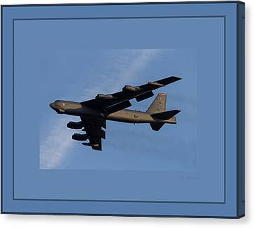 Boeing B-52 Stratofortress Taking Off From Tinker Air Force Base Oklahoma With Quadruple Border Canvas Print by L Brown