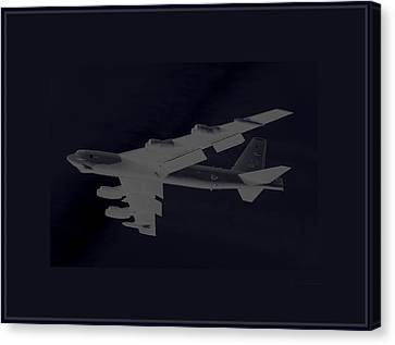 Boeing B-52 Stratofortress Taking Off On A Dangerous Night Mission Tinker Afb 3 Contrasting Borders Canvas Print by L Brown